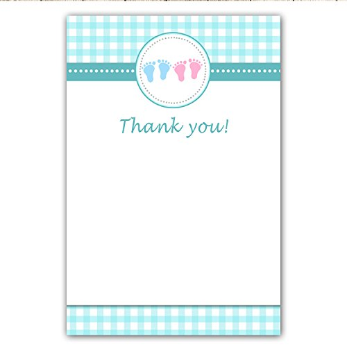 30 Blank Thank You Cards Teal Turquoise Pink Ginham Baby Feet Boy Girl Twins Shower Siblings + 30 White Envelopes Baby Feet Flat Card