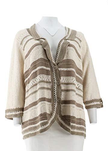 Liz Claiborne NY Notch Collar Mixed Stitch Crochet Blazer Mocha 3X New A252366
