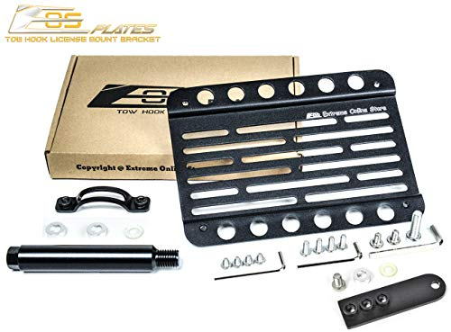 Replacement for 2013-Present Cadillac ATS with PDC | EOS Plate Version 1 Front Bumper Tow Hook License Relocator Mount with Lowering Extension Bracket Tow-373-L (Mid Size) (Cadillac Tow Hook)