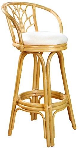 Hospitality Rattan 806-6094-NAT-C Valencia Indoor Swivel Rattan & Wicker Counter Stool in Natural Finish with Cushion, 24″, Sunbrella Bay Brown Review