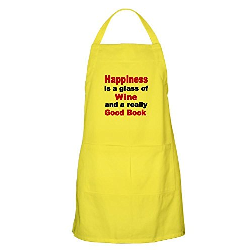 CafePress Happiness is A Glass of Wine and A Really Good Bo Kitchen Apron with Pockets, Grilling Apron, Baking Apron