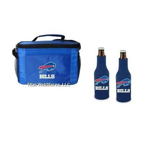 Titan WebStores LLC NFL Football Team Logo 6 Pack Tailgating Cooler and Neoprene Bottle Suits Gift Set (Bills)