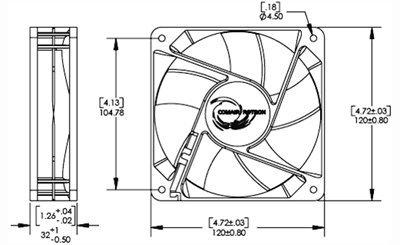 Comair Rotron 120mm Muffin DC Fan 12VDC - 3,700RPM - 102CFM - MC12B3 by Conair