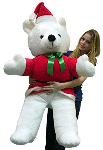 Big Plush American Made Giant Santa Bear 54 Inch Soft Life Size Christmas Teddy Bear (Christmas Teddy Dressed Bear)