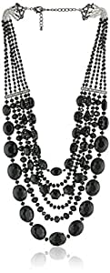 """Purple by M. Haskell Mixed Black Faceted Bead Multi-Row Statement Necklace, 21"""" + 3"""" extender"""