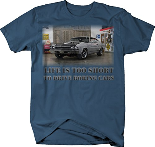 (OS Gear Life is Too Short Boring Cars - Chevy Chevelle SS Muscle Car Tshirt - Large )