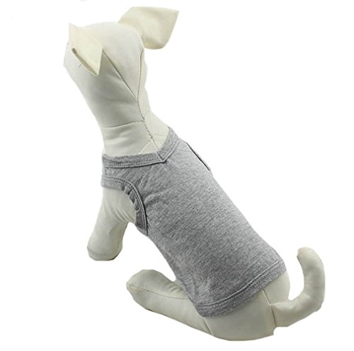 Small Dog Tank Top - Pet Clothing Dog Clothes Blank T-shirt Tee Shirts Tanks Top For Small Size Dogs Chihuahua 100% Cotton Puppy Dog Classic 11 Colors DTT-010 (XL, Grey)