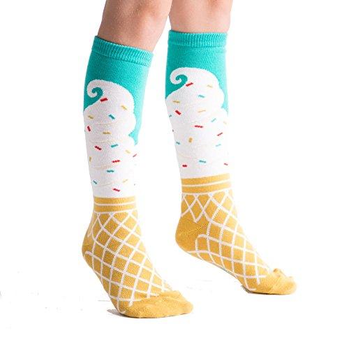 Cream Ice Socks Cone - Sock It To Me, Ice Cream Dream, Youth Knee-High Socks, Ice Cream Cone Socks