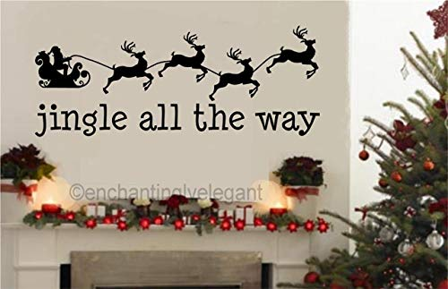 - A Design World Christmas Santa Jingle All The Way Vinyl Decal Wall Sticker Words Quote D?cor