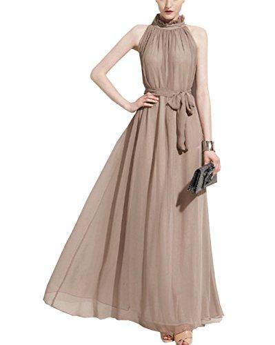 Women Sleeveless Lace Chiffon Dresses (Khaki) - 6