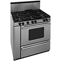 Premier P36B3282PS 36 Pro Series Gas Range with 6 Sealed Variable Top Burners Separate Broiler Compartment 17 000 BTU Oven Burner Heavy Duty Cast Aluminum Griddle Storage Compartme