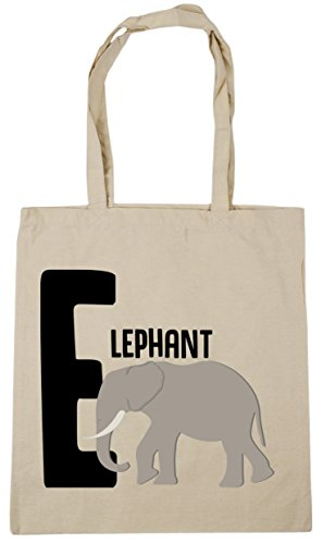 10 Gym Shopping Natural HippoWarehouse x38cm 42cm litres Tote elephant for Bag animal E Beach alphabet Sf07F