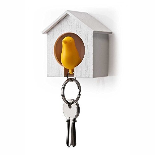 (AKOAK White Mini Birdhouse and Yellow Bird Keychain,Bird is a Safety Whistle)