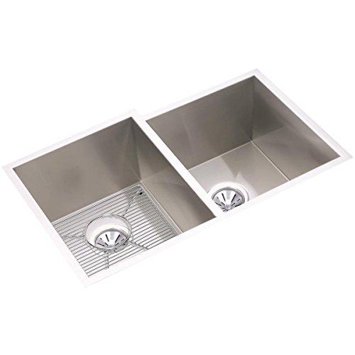 Elkay Avado Double Bowl (Elkay Crosstown EFU312010RDBG Offset Double Bowl Undermount Stainless Steel Kitchen Sink Kit)
