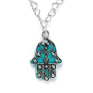 Joyas de plata con hamsa - Collar turquesa con flor de lis - Colgante para mujer con mano de Fátima - Ideas para regalar de inspiración judía