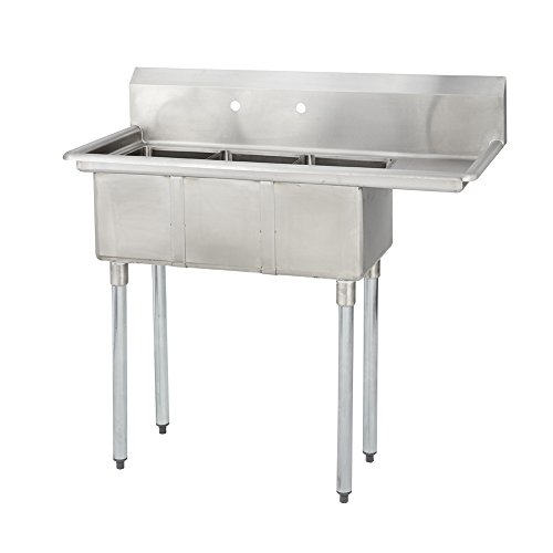Fenix Sol 18G-3C10X14-R12 Three Compartment Stainless Steel Sink, Bowl: 10