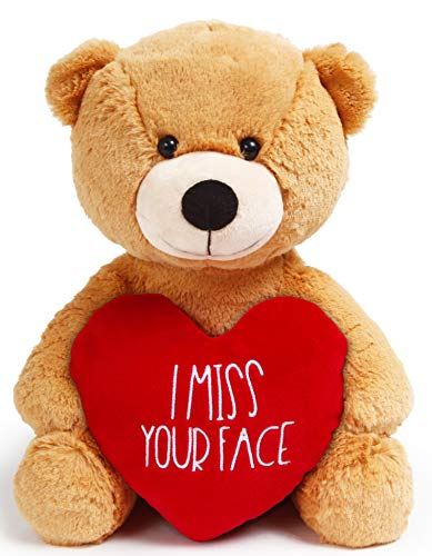I Miss You Gifts Large 12 inch Teddy Bear I Miss Your Face- Cute Long Distance Relationships Gift, Friend, Couples, Valentines Day, Relationship, Boyfriend,Girlfriend, for Her, Him