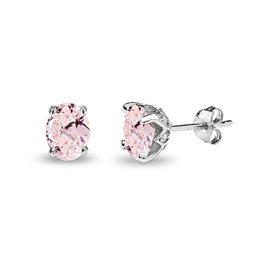 (Sterling Silver Simulated Morganite and White Topaz Oval Crown Stud)