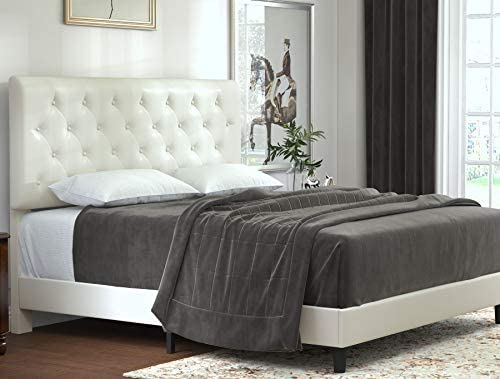 Allewie Faux Leather Upholstered Queen Bed Frame with Diamond Stitched Button Tufted Headboard and Wood slats/Mattress Foundation/No Box Spring Needed/Easy Assembly/Cream