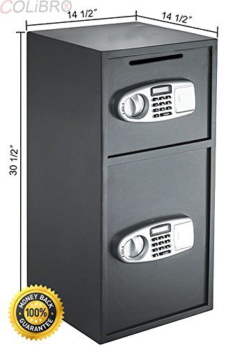 COLIBROX--NEW Digital Double Door Safe Depository Drop Box Safes Cash Office Security Lock. Constructed with Solid Steel to Resist Hand and Mechanical Tool Attacks - Easy to Operate and Program.
