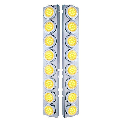Peterbilt Front Air Cleaner Kit w/16 Flat LED Lights & Bezel - Amber LED/Clear Lens