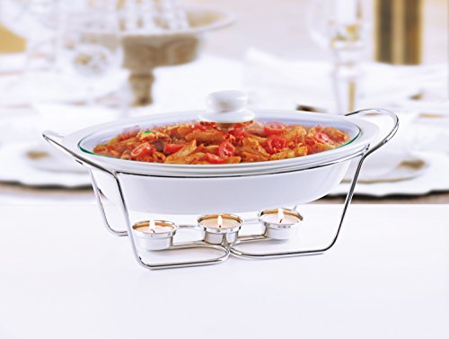 Circleware Ceramic Chafer Buffet Food Server Warmer Serving Tray with Handles, Glass Lid and Chrome Metal Serving Stand, 2 Quart,16 inch w x 9.75 inch D x 5 inch H