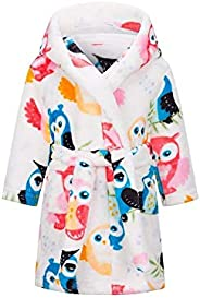 PS Boys Girls Bathrobes, Toddler Kids Hooded Robes Plush Soft Coral Fleece Pajamas Sleepwear for Girls Boys