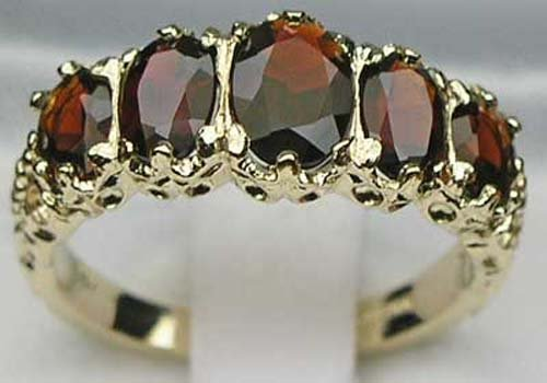 Ladies Victorian Style Solid Hallmarked 14K Yellow Gold Genuine Garnet Band Ring - Size 11 - Sizes 5 to 12 by LetsBuyGold