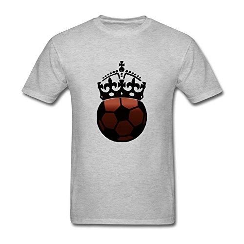 - Arpower Grey Soccer Ball Crown Men Heart Short Sleeve 100% Cotton Teeshirts XXL