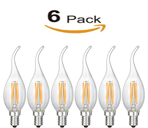 Bulbright 6Pack LED Vintage EDISON Bulb Candelabra C35 - 6W LED Filament Candle Bulb, E12 Base, Clear Warm White 2700K, LED Edison Bulb 50W Equivalent, 110-120VAC, Dimmable (6) by Bulbright