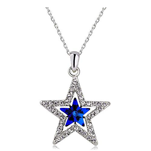 (MIXIA Charm Triple Crystal Star Long Sweater Chain Necklace Fine Jewelry Crystals Women Red Pearl Cross Tassel Necklace (Blue Star))