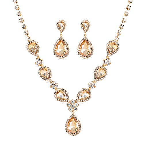 Miraculous Garden Bridal Gold Plated Teardrop Crystal Necklace and Earrings Jewelry Set Gifts fit with Wedding Dress by Miraculous Garden