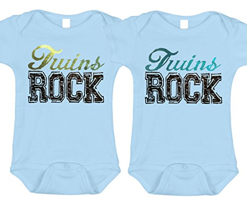 Bebe Bottle Sling- Twins Rock - Green/Blue Foil (2 blue bodysuits), Size 3-6 mo