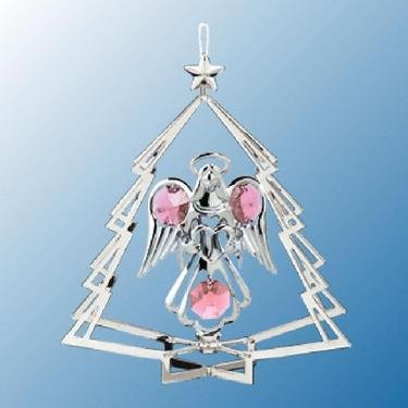 (Hanging Sun Catcher or Ornament..... Angel Holding Heart In Tree Shell With Pink Swarovski Austrian)
