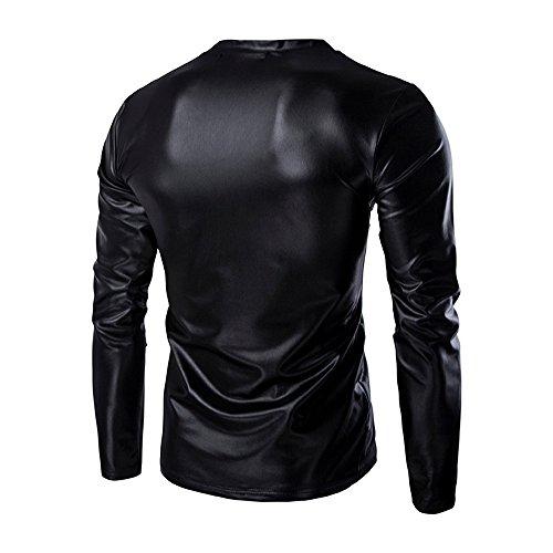 bling Camicie costume 5xl Uomo M girocollo Da Paillettes Fit Nero Slim Di Prestazione q6xawY46