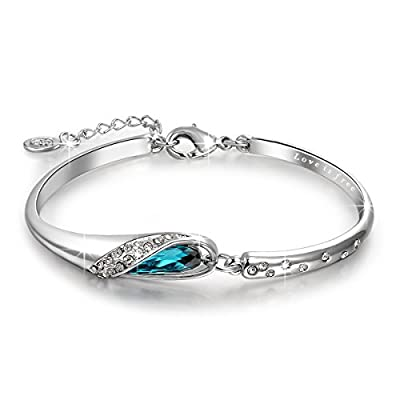"QIANSE ""Glass Slipper"" 7 Inches Bangle Bracelet Made with Blue Swarovski Crystal - Fairytale Design!"