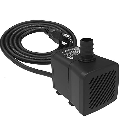 Submersible Water Pump Ultra Quiet with Pre-Filter and Dry Burning Protection 300GPH for Fountains, Hydroponics, Ponds, Aquariums & More
