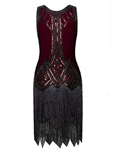 Vikoros - Vestido - Noche - Paisley - Sin mangas - para mujer rojo vino