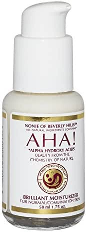 AHA Brilliant Moisturizer For Dry / Oily or Combination Skin With Alpha Hydroxy Acids From Fruit, Organic Vinegar, Coconut Oil. The Leading Brand In Anti Aging Skin Care! Exfoliating Moisturizer By Nonie Of Beverly Hills 1.75oz Durable Glass Bottle