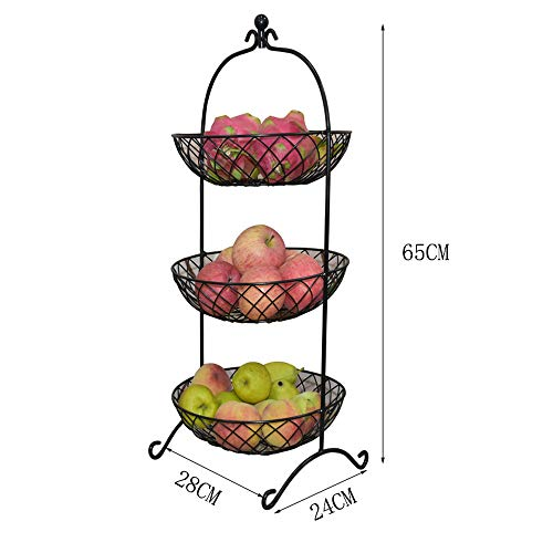 LYJxuan Large-Capacity Multi-Layer Fruit Stand, Modern and Simple Design, Metal Material, Hollow Sculpture Design, Multi-Layer Storage, (Black, Bronze, Gold)