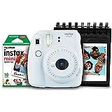 Kit Câmera Instantânea Instax Mini 9 Branco Gelo + Filme Instax Mini 10 fotos + Porta Fotos