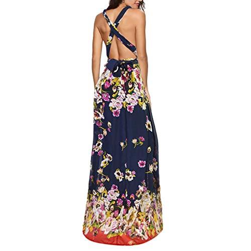 LENXH Printed Dress V-Neck Dress Fashion Dress Casual Beach Dress Sexy Dress Elegant Dress Dark Blue (Bernat Sweet Stripes)