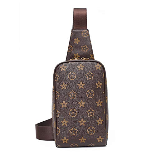 (Men's Shoulder Bag Printed Chest Bag Messenger Bag-994# (Brown) )