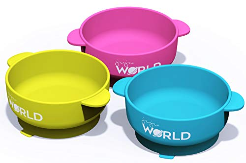 3 Baby Bowls with High Suction Base Set - Great for Feeding Kids & Toddlers - Fridge, Microwave & Dishwasher Compatible - Eco-Friendly, BPA Free Silicone (Three Bowls)