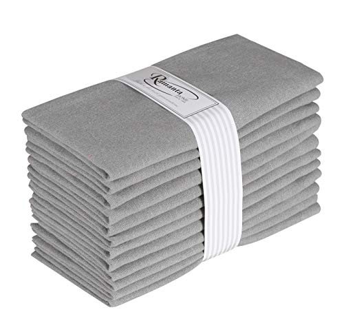 Cotton Dinner Napkins 12 Pack (18x18 Inches) Light Gray/Mercury, 100% Cotton, Tailored with Mitered Corners and a Generous 1