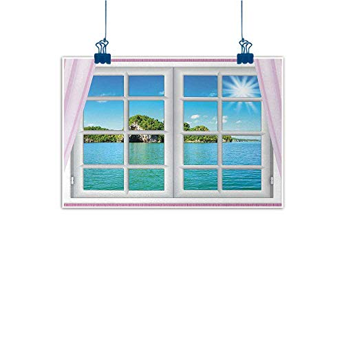 (Outdoor Nature Inspiration Poster Wilderness Ocean,Ocean View from the Window on Island in Sunny Summer Day Peaceful Relaxation Resting,Pink Blue 20