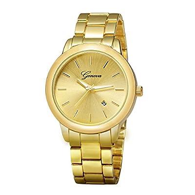 ALPS Men's Gold Stainless Steel Fashion Luxury Calendar Quartz Wristwatch