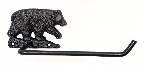 Black Bear Bathroom Decor Cast Iron Toilet Paper Holder