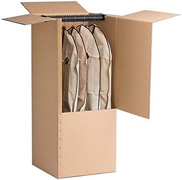 TodoAlmacén - Cajas Armario con barra de plástico para mudanzas y para trasteros. Cajas Armario de Cartón Doble con Kraft Exterior (2 Cajas de 50x50x1,30cm): Amazon.es: Oficina y papelería
