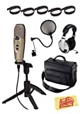 CAD U37 USB Condenser Microphone Bundle with Gearlux Padded Mic Bag, Pop Filter, Headphones, Velcro Cable Ties, and Austin Bazaar Polishing Cloth